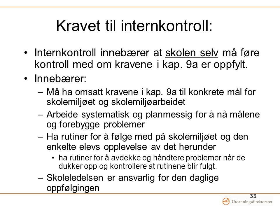 Kravet til internkontroll: Internkontroll innebærer at skolen selv må føre kontroll med om kravene i kap. 9a er oppfylt. Innebærer: –Må ha omsatt krav