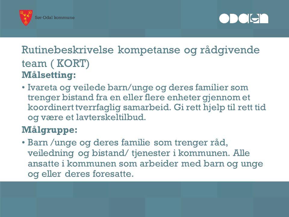 Rutinebeskrivelse kompetanse og rådgivende team ( KORT) Målsetting: Ivareta og veilede barn/unge og deres familier som trenger bistand fra en eller fl