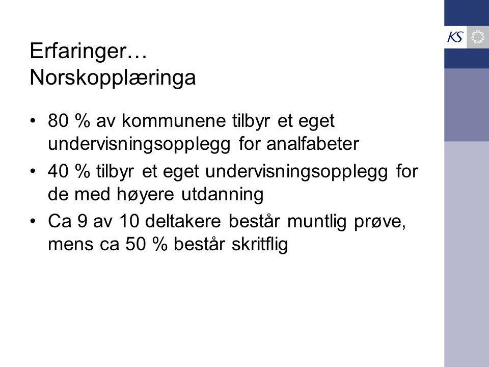 Erfaringer… Norskopplæringa 80 % av kommunene tilbyr et eget undervisningsopplegg for analfabeter 40 % tilbyr et eget undervisningsopplegg for de med