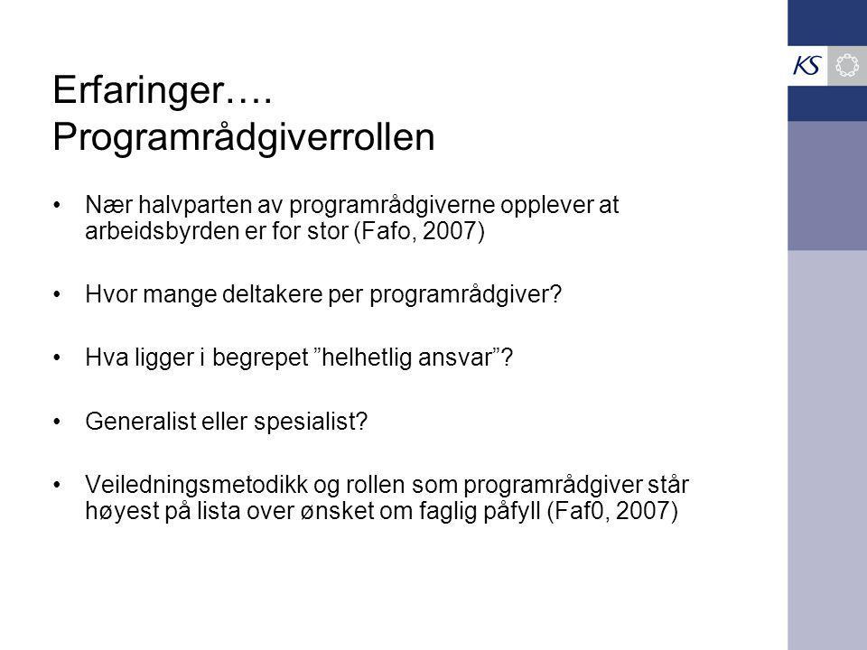 Erfaringer…. Programrådgiverrollen Nær halvparten av programrådgiverne opplever at arbeidsbyrden er for stor (Fafo, 2007) Hvor mange deltakere per pro
