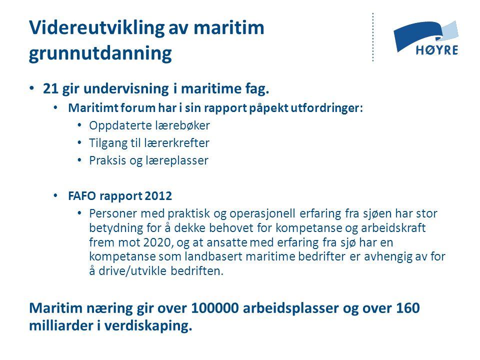 Videreutvikling av maritim grunnutdanning 21 gir undervisning i maritime fag.