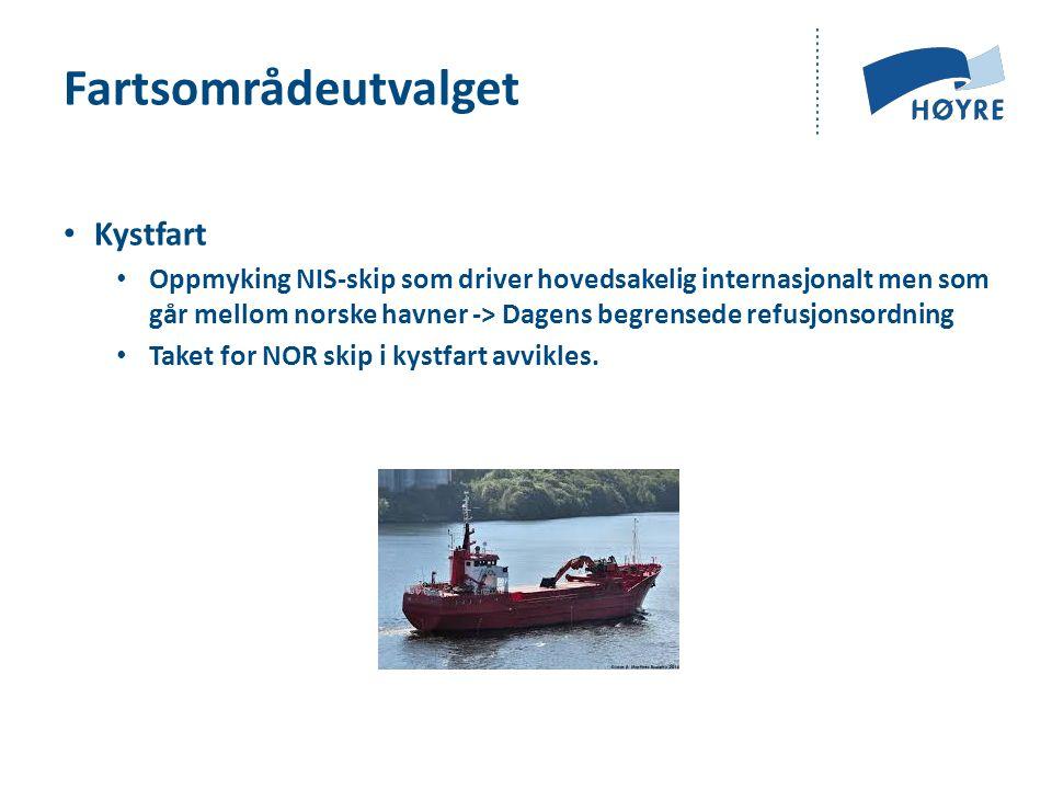 Fartsområdeutvalget Kystfart Oppmyking NIS-skip som driver hovedsakelig internasjonalt men som går mellom norske havner -> Dagens begrensede refusjonsordning Taket for NOR skip i kystfart avvikles.