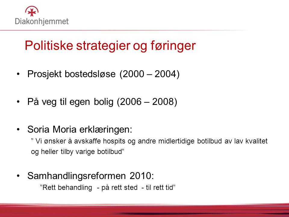 """Politiske strategier og føringer Prosjekt bostedsløse (2000 – 2004) På veg til egen bolig (2006 – 2008) Soria Moria erklæringen: """" Vi ønsker å avskaff"""