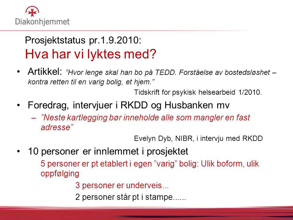 """Prosjektstatus pr.1.9.2010: Hva har vi lyktes med? Artikkel: """"Hvor lenge skal han bo på TEDD. Forståelse av bostedsløshet – kontra retten til en varig"""