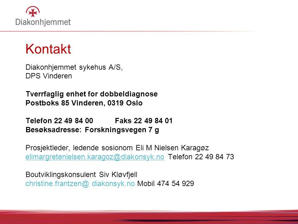 Kontakt Diakonhjemmet sykehus A/S, DPS Vinderen Tverrfaglig enhet for dobbeldiagnose Postboks 85 Vinderen, 0319 Oslo Telefon 22 49 84 00 Faks 22 49 84