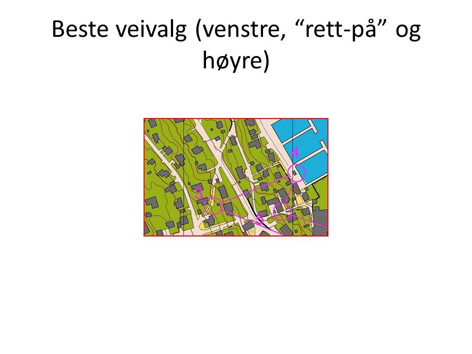 Beste veivalg (venstre, rett-på og høyre)