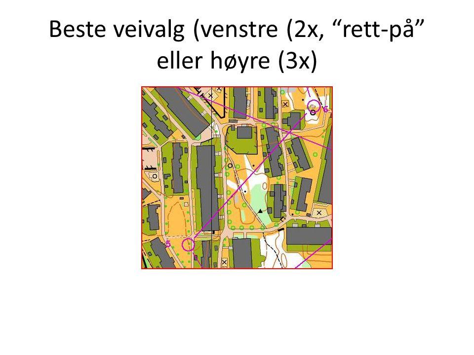 Beste veivalg (venstre (2x, rett-på eller høyre (3x)