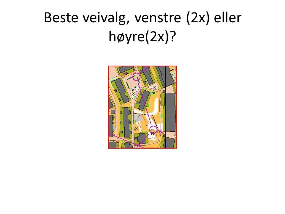 Beste veivalg, venstre (2x) eller høyre(2x)