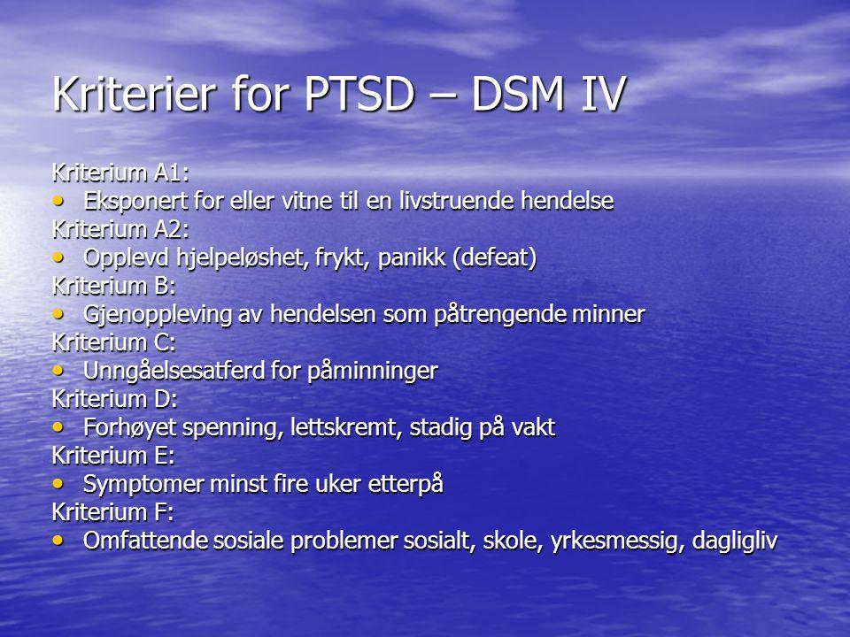 Kriterier for PTSD – DSM IV Kriterium A1: Eksponert for eller vitne til en livstruende hendelse Eksponert for eller vitne til en livstruende hendelse