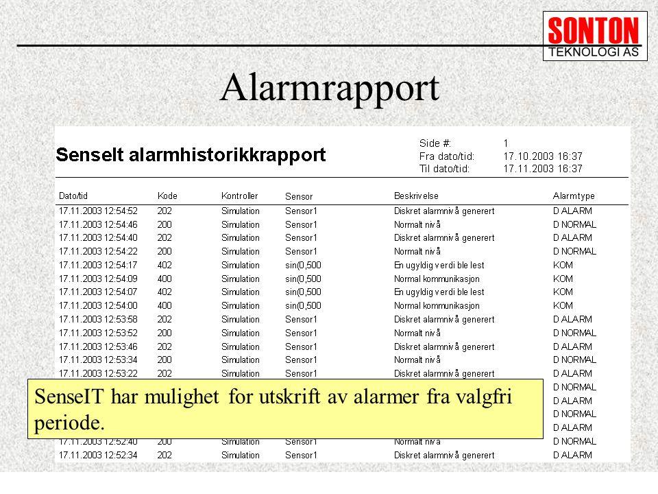 Alarmrapport SenseIT har mulighet for utskrift av alarmer fra valgfri periode.
