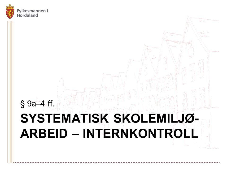 SYSTEMATISK SKOLEMILJØ- ARBEID – INTERNKONTROLL § 9a–4 ff.