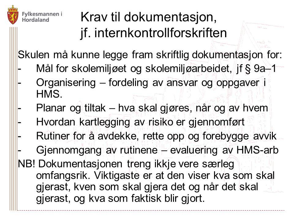 Krav til dokumentasjon, jf. internkontrollforskriften Skulen må kunne legge fram skriftlig dokumentasjon for: -Mål for skolemiljøet og skolemiljøarbei