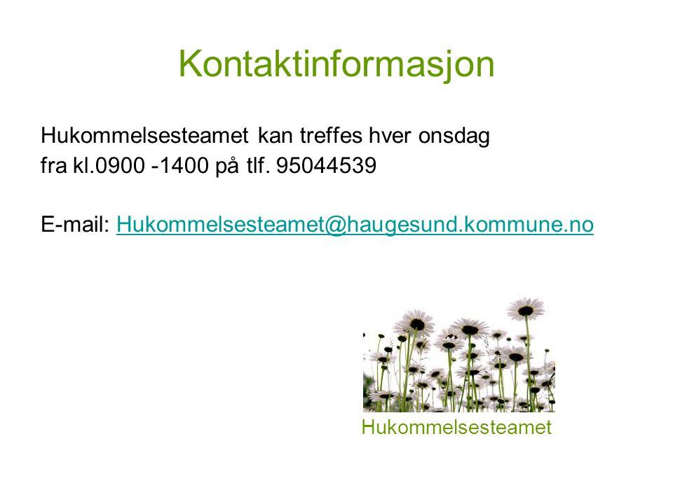 Kontaktinformasjon Hukommelsesteamet kan treffes hver onsdag fra kl.0900 -1400 på tlf.