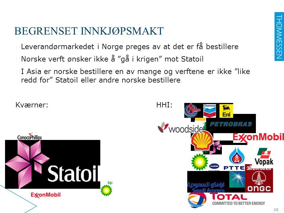 """BEGRENSET INNKJØPSMAKT ▶ Leverandørmarkedet i Norge preges av at det er få bestillere ▶ Norske verft ønsker ikke å """"gå i krigen"""" mot Statoil ▶ I Asia"""