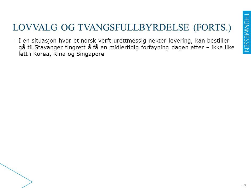 LOVVALG OG TVANGSFULLBYRDELSE (FORTS.) ▶ I en situasjon hvor et norsk verft urettmessig nekter levering, kan bestiller gå til Stavanger tingrett å få
