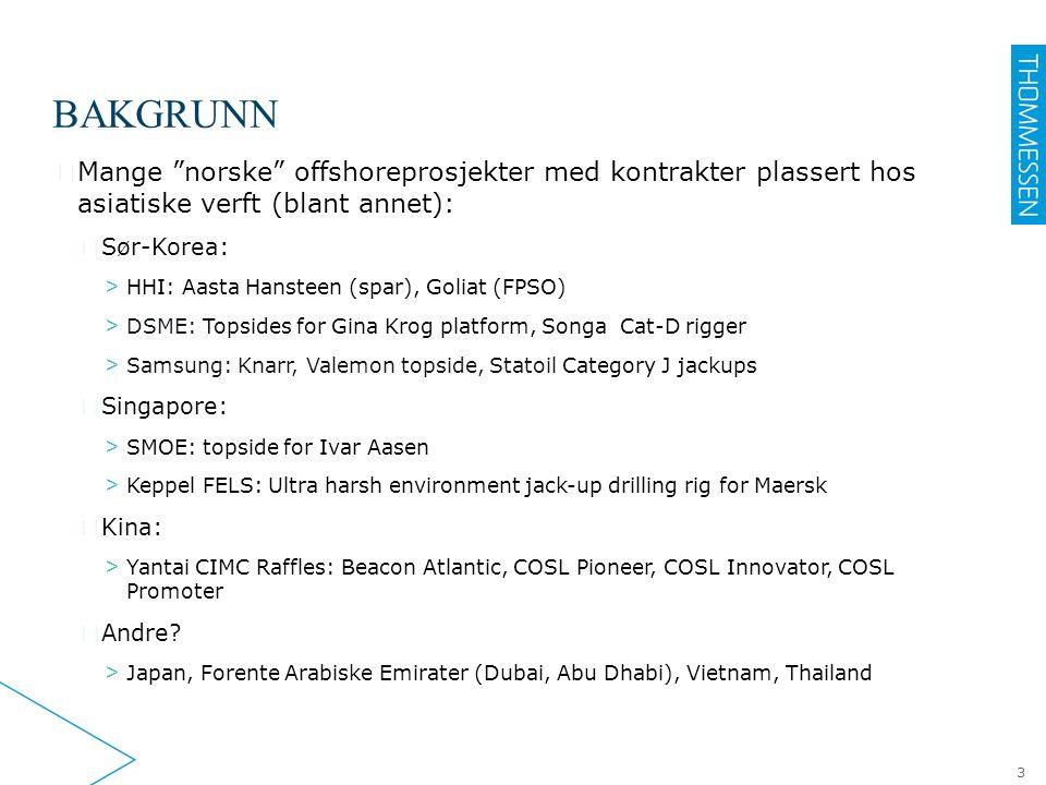 """BAKGRUNN ▶ Mange """"norske"""" offshoreprosjekter med kontrakter plassert hos asiatiske verft (blant annet): ▷ Sør-Korea: > HHI: Aasta Hansteen (spar), Gol"""
