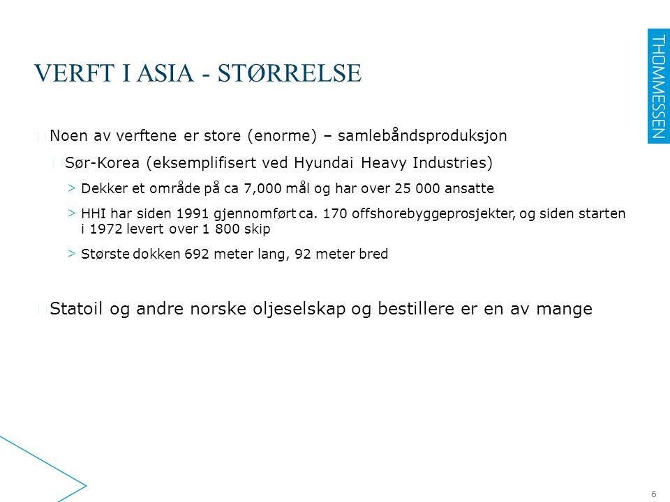 VERFT I ASIA - STØRRELSE ▶ Noen av verftene er store (enorme) – samlebåndsproduksjon ▷ Sør-Korea (eksemplifisert ved Hyundai Heavy Industries) > Dekke