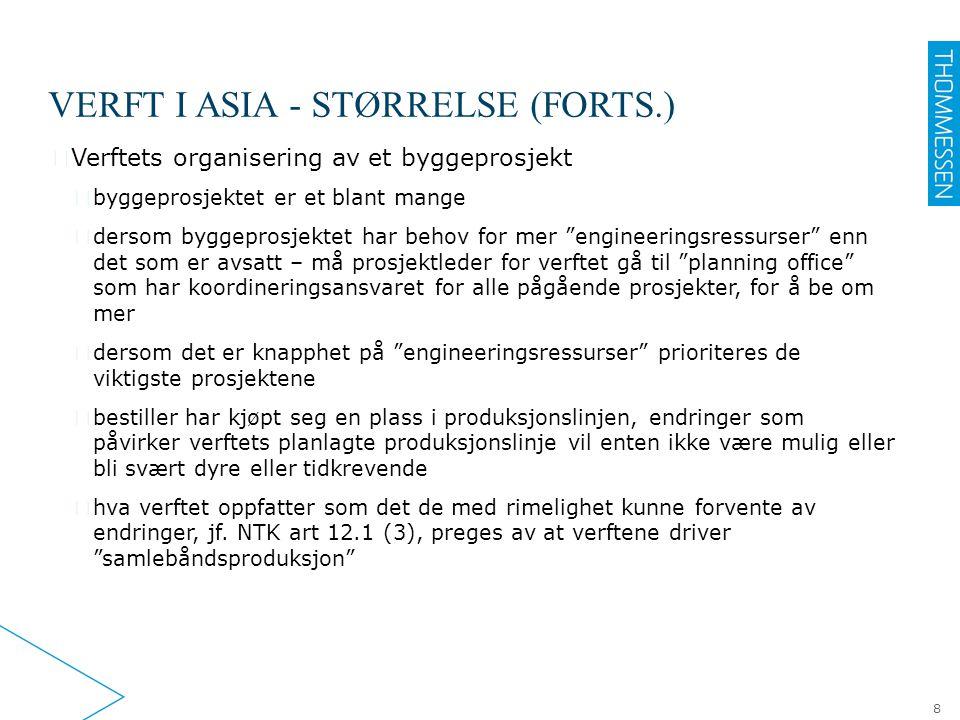 VERFT I ASIA - STØRRELSE (FORTS.) ▶ Verftets organisering av et byggeprosjekt ▷ byggeprosjektet er et blant mange ▷ dersom byggeprosjektet har behov f