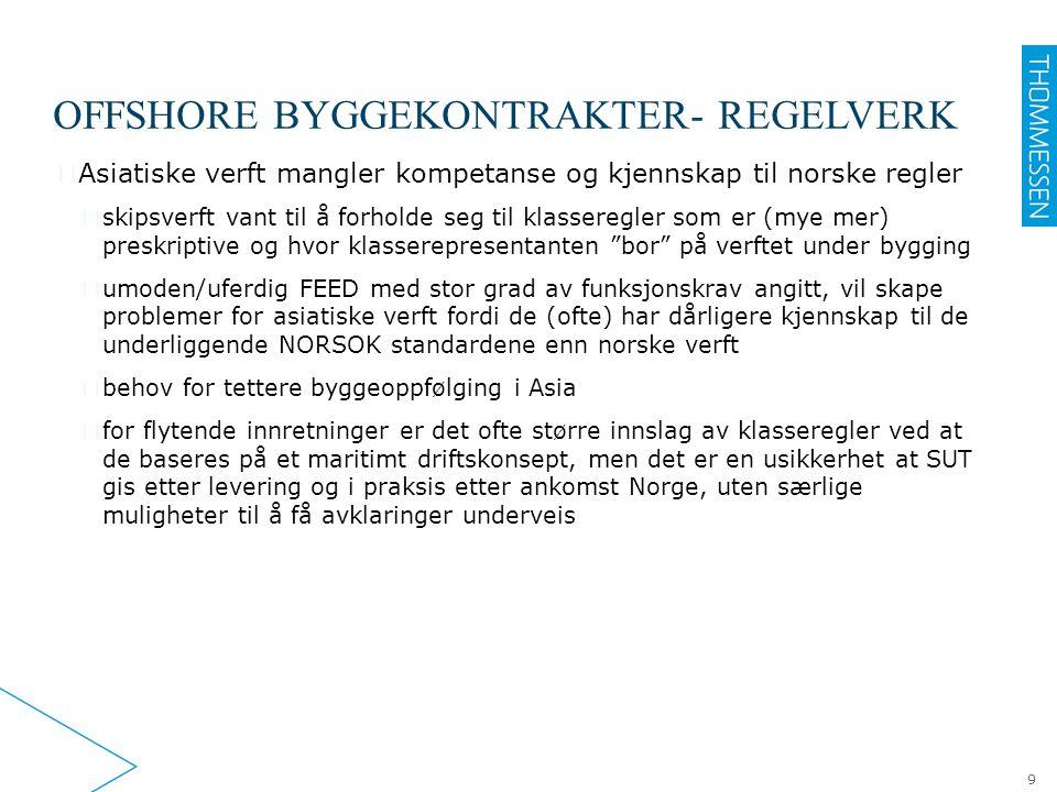 OFFSHORE BYGGEKONTRAKTER- REGELVERK ▶ Asiatiske verft mangler kompetanse og kjennskap til norske regler ▷ skipsverft vant til å forholde seg til klass