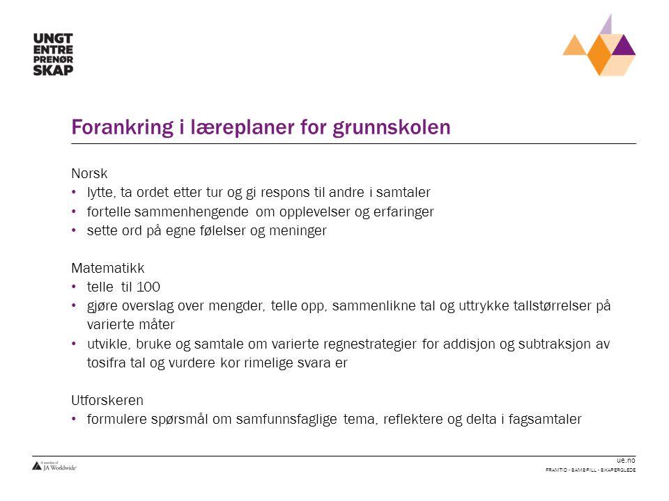 ue.no Forankring i læreplaner for grunnskolen Norsk lytte, ta ordet etter tur og gi respons til andre i samtaler fortelle sammenhengende om opplevelse