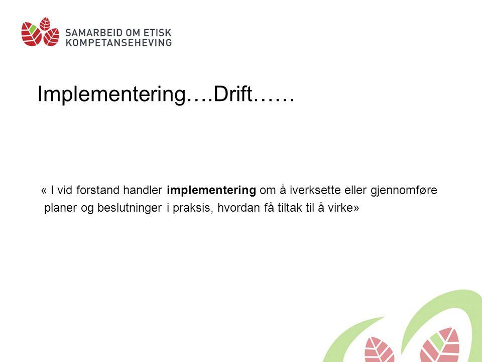 Implementering….Drift…… « I vid forstand handler implementering om å iverksette eller gjennomføre planer og beslutninger i praksis, hvordan få tiltak til å virke»