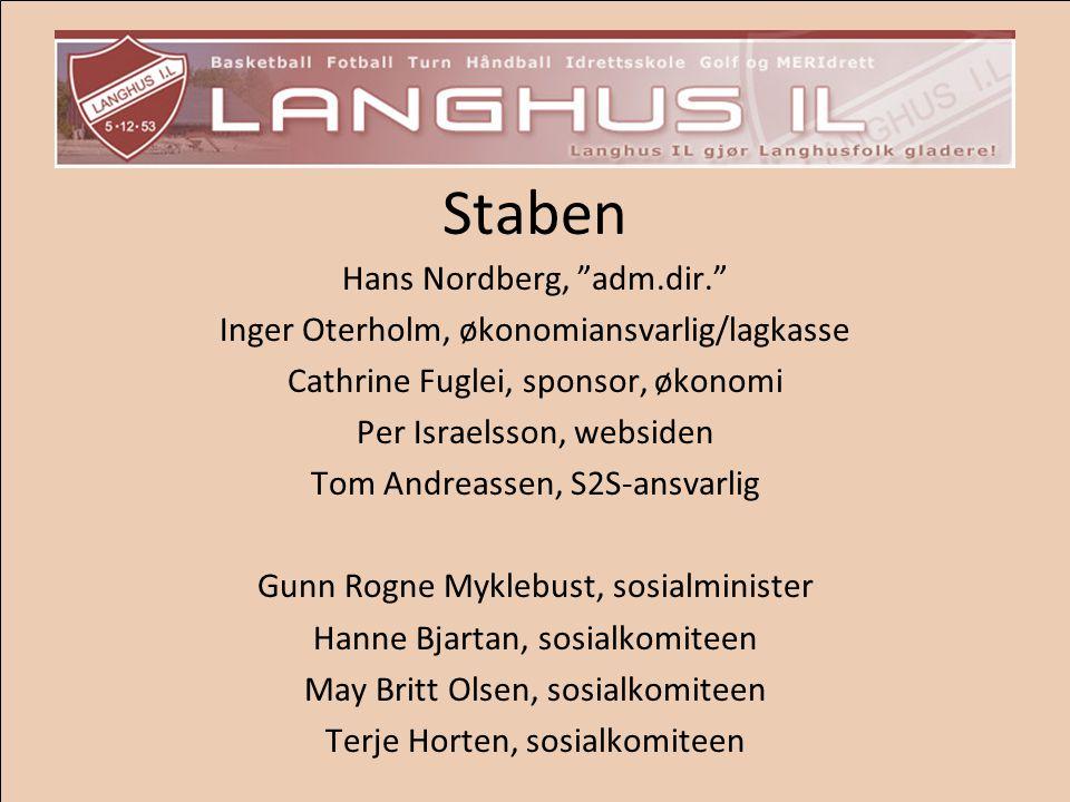 """Staben Hans Nordberg, """"adm.dir."""" Inger Oterholm, økonomiansvarlig/lagkasse Cathrine Fuglei, sponsor, økonomi Per Israelsson, websiden Tom Andreassen,"""