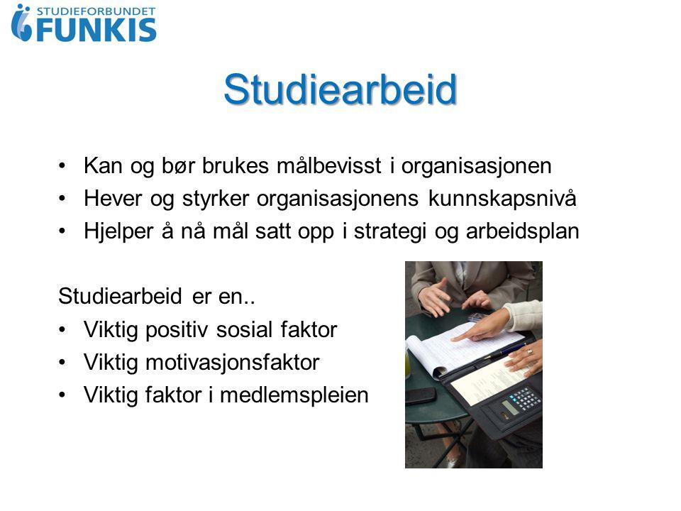 Studiearbeid Kan og bør brukes målbevisst i organisasjonen Hever og styrker organisasjonens kunnskapsnivå Hjelper å nå mål satt opp i strategi og arbeidsplan Studiearbeid er en..