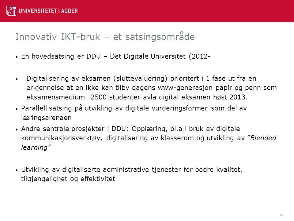 Innovativ IKT-bruk – et satsingsområde En hovedsatsing er DDU – Det Digitale Universitet (2012- Digitalisering av eksamen (sluttevaluering) prioritert i 1.fase ut fra en erkjennelse at en ikke kan tilby dagens www-generasjon papir og penn som eksamensmedium.