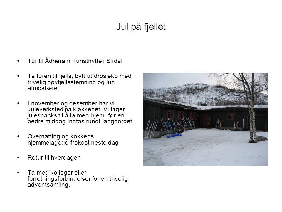 Jul på fjellet Tur til Ådneram Turisthytte i Sirdal Ta turen til fjells, bytt ut drosjekø med trivelig høyfjellsstemning og lun atmosfære I november og desember har vi Juleverksted på kjøkkenet.