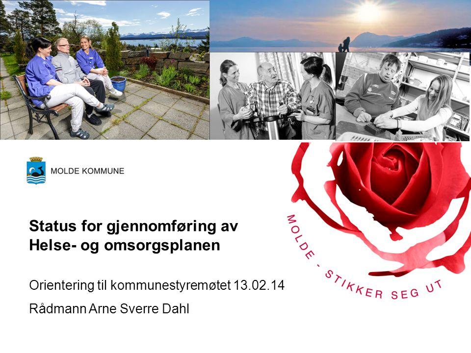 Status for gjennomføring av Helse- og omsorgsplanen Orientering til kommunestyremøtet 13.02.14 Rådmann Arne Sverre Dahl