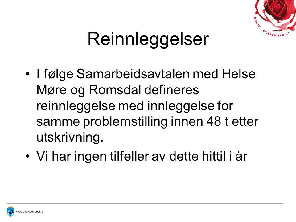 Reinnleggelser I følge Samarbeidsavtalen med Helse Møre og Romsdal defineres reinnleggelse med innleggelse for samme problemstilling innen 48 t etter