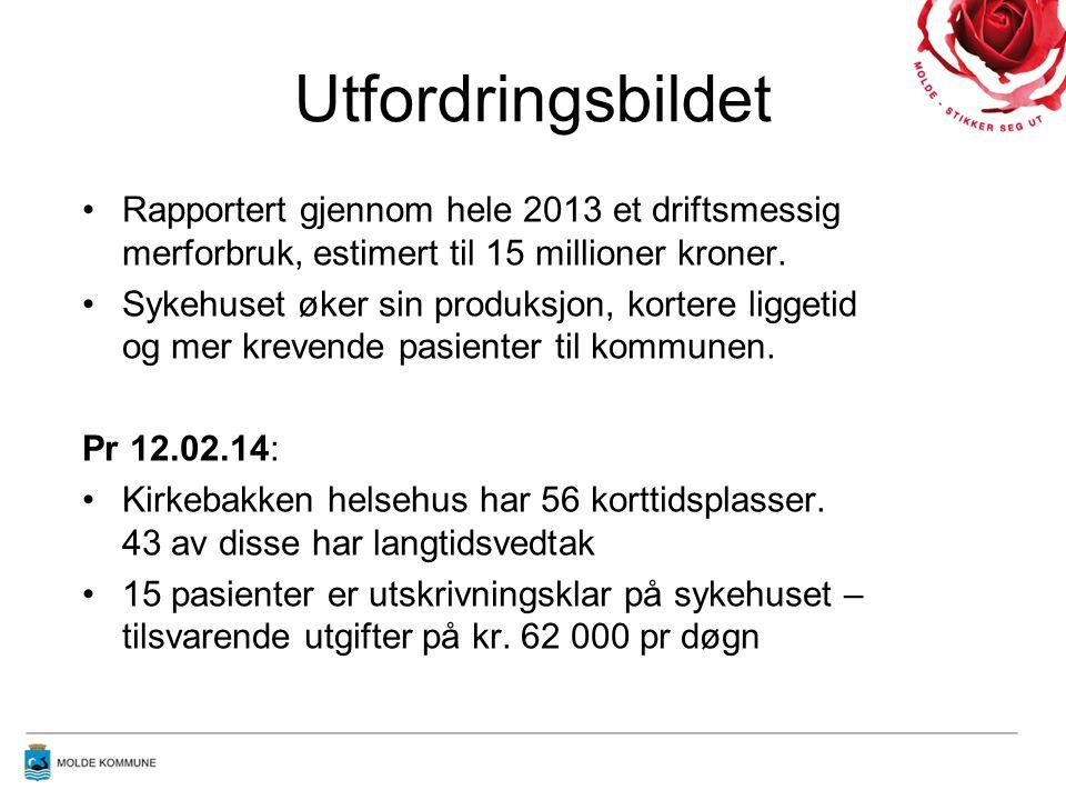 Utfordringsbildet Rapportert gjennom hele 2013 et driftsmessig merforbruk, estimert til 15 millioner kroner. Sykehuset øker sin produksjon, kortere li