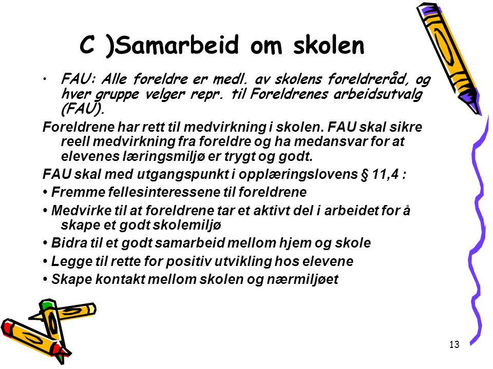 13 C )Samarbeid om skolen FAU: Alle foreldre er medl. av skolens foreldreråd, og hver gruppe velger repr. til Foreldrenes arbeidsutvalg (FAU). Foreldr