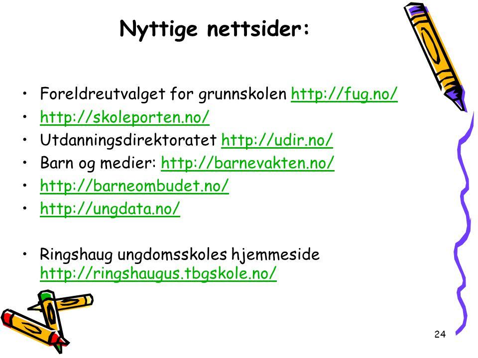 24 Nyttige nettsider: Foreldreutvalget for grunnskolen http://fug.no/http://fug.no/ http://skoleporten.no/ Utdanningsdirektoratet http://udir.no/http: