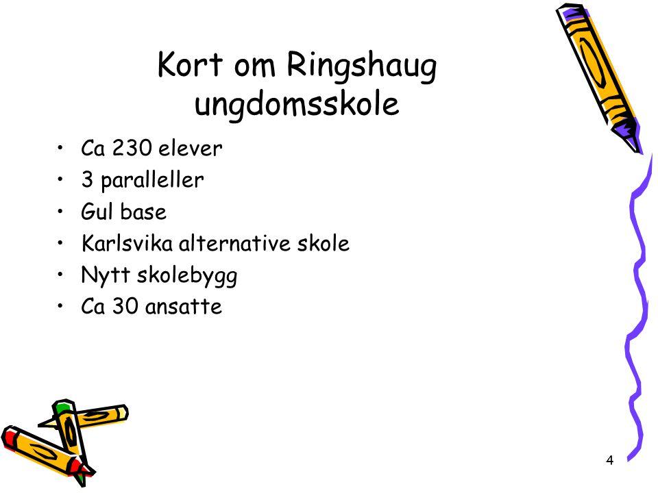 4 Kort om Ringshaug ungdomsskole Ca 230 elever 3 paralleller Gul base Karlsvika alternative skole Nytt skolebygg Ca 30 ansatte