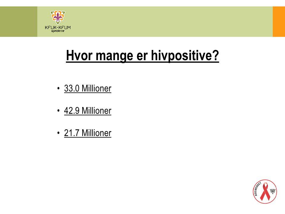 Hvor mange er hivpositive? 33.0 Millioner 42.9 Millioner 21.7 Millioner