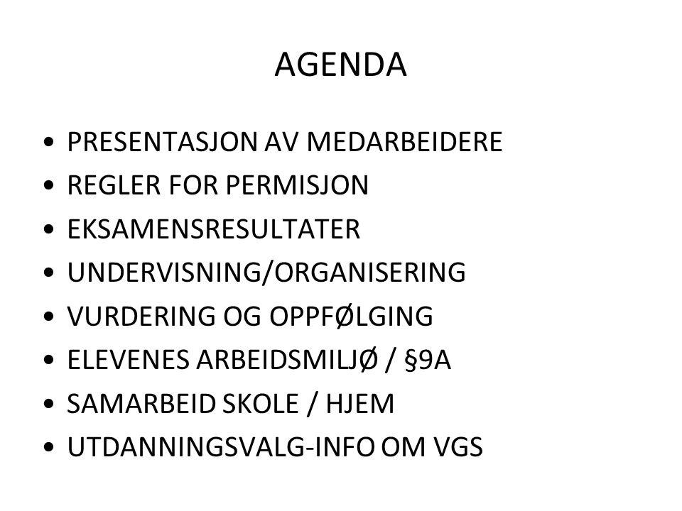 REGLER FOR PERMISJON Stort elevfravær: Skoleeiers innstramming Søknader om permisjon; 2013:400, 2014: 172 Avslag: 45 og 38 Vi må vurdere: 1.
