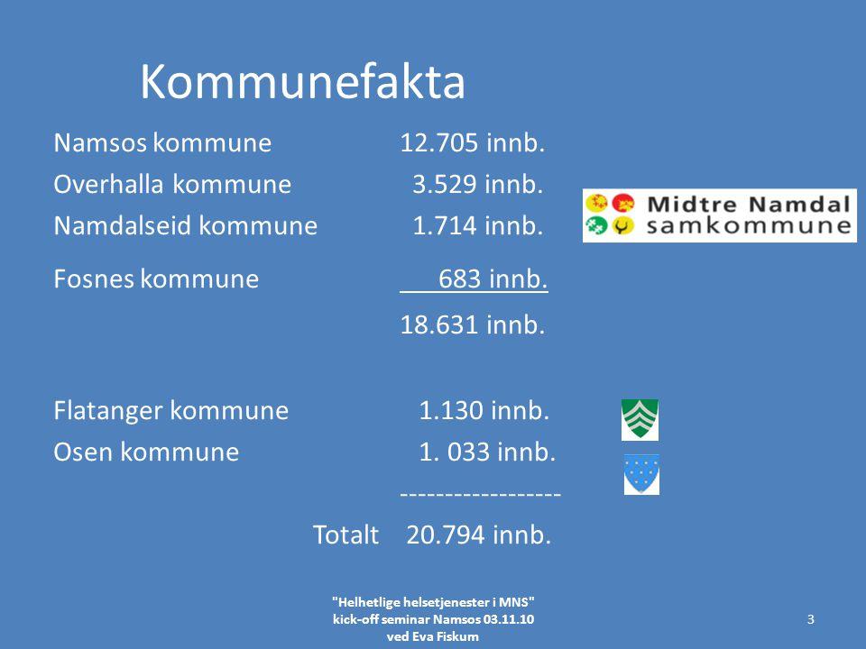 Kommunefakta Namsos kommune12.705 innb. Overhalla kommune 3.529 innb.