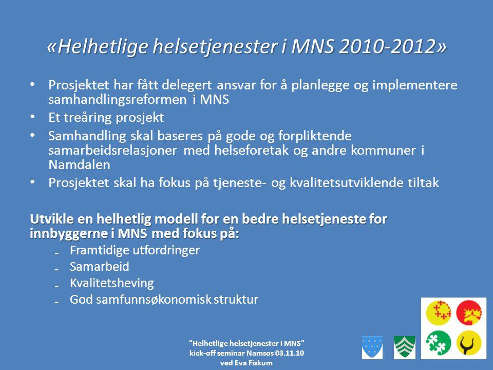 Beslutningslinjer i «Helhetlige helsetjenester i MNS» Samkommunestyret Prosjektgruppe Under- prosjekt NaOvNd Fo Formulerer innstilling til vedtak Fremmer begrunnede anbefalinger Prioritering av tiltak Budsjett Fokus på SHR samlet sett som ett prosjekt 6 Styringsgruppe Komité helse, barn, velferd Prosjekt- leder Helhetlige helsetjenester i MNS kick-off seminar Namsos 03.11.10 ved Eva Fiskum FlOs Fokus på inndeling i underprosjekter