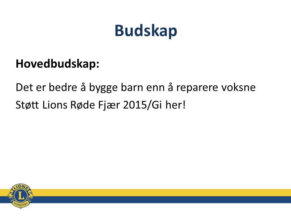 Budskap Hovedbudskap: Det er bedre å bygge barn enn å reparere voksne Støtt Lions Røde Fjær 2015/Gi her!