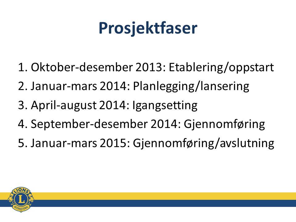 Prosjektfaser 1. Oktober-desember 2013: Etablering/oppstart 2. Januar-mars 2014: Planlegging/lansering 3. April-august 2014: Igangsetting 4. September