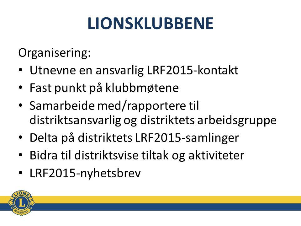 LIONSKLUBBENE Organisering: Utnevne en ansvarlig LRF2015-kontakt Fast punkt på klubbmøtene Samarbeide med/rapportere til distriktsansvarlig og distrik
