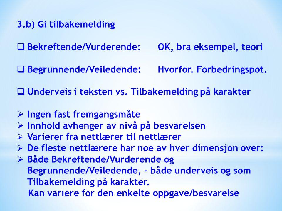 3.b) Gi tilbakemelding  Bekreftende/Vurderende:OK, bra eksempel, teori  Begrunnende/Veiledende:Hvorfor. Forbedringspot.  Underveis i teksten vs. Ti
