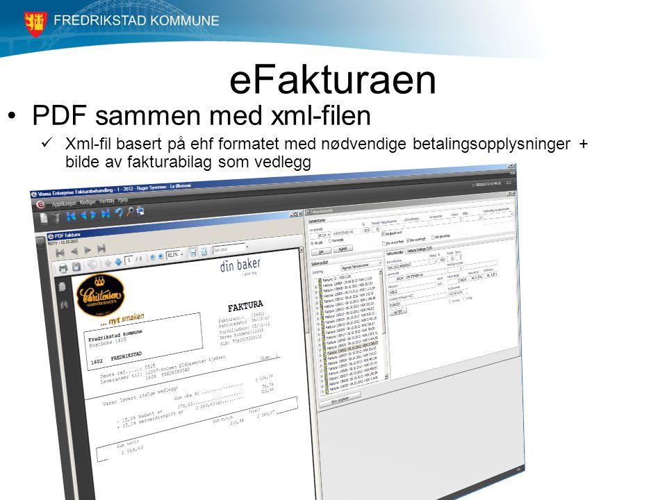 eFakturaen PDF sammen med xml-filen Xml-fil basert på ehf formatet med nødvendige betalingsopplysninger + bilde av fakturabilag som vedlegg