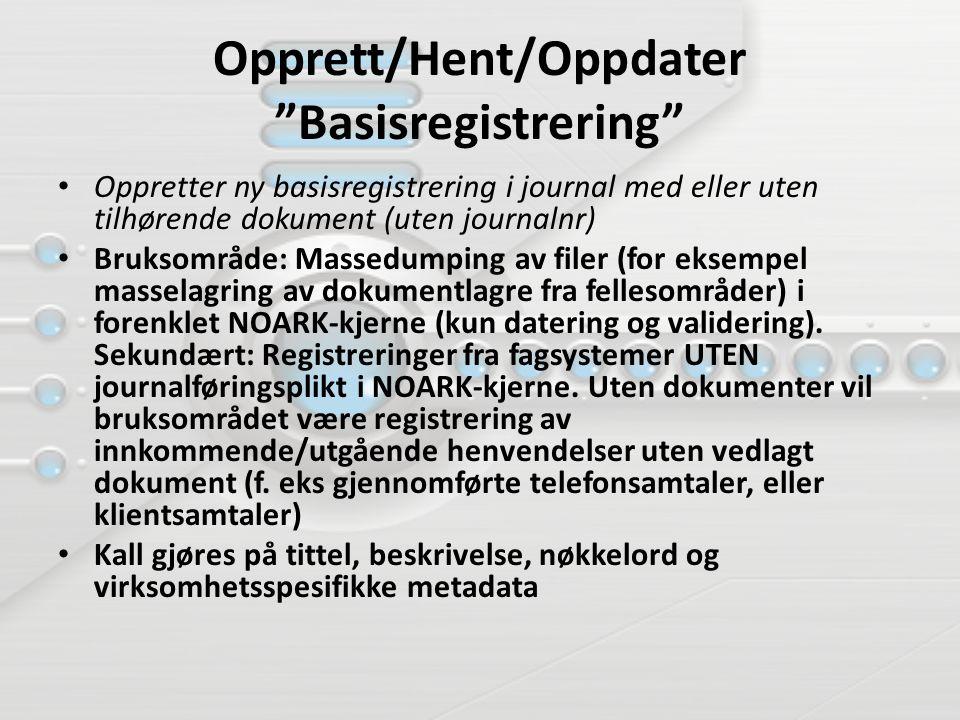Opprett/Hent/Oppdater Basisregistrering Oppretter ny basisregistrering i journal med eller uten tilhørende dokument (uten journalnr) Bruksområde: Massedumping av filer (for eksempel masselagring av dokumentlagre fra fellesområder) i forenklet NOARK-kjerne (kun datering og validering).