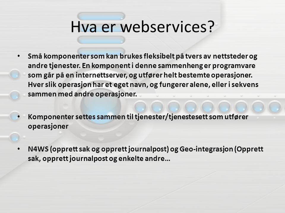 Hva er webservices? Små komponenter som kan brukes fleksibelt på tvers av nettsteder og andre tjenester. En komponent i denne sammenheng er programvar