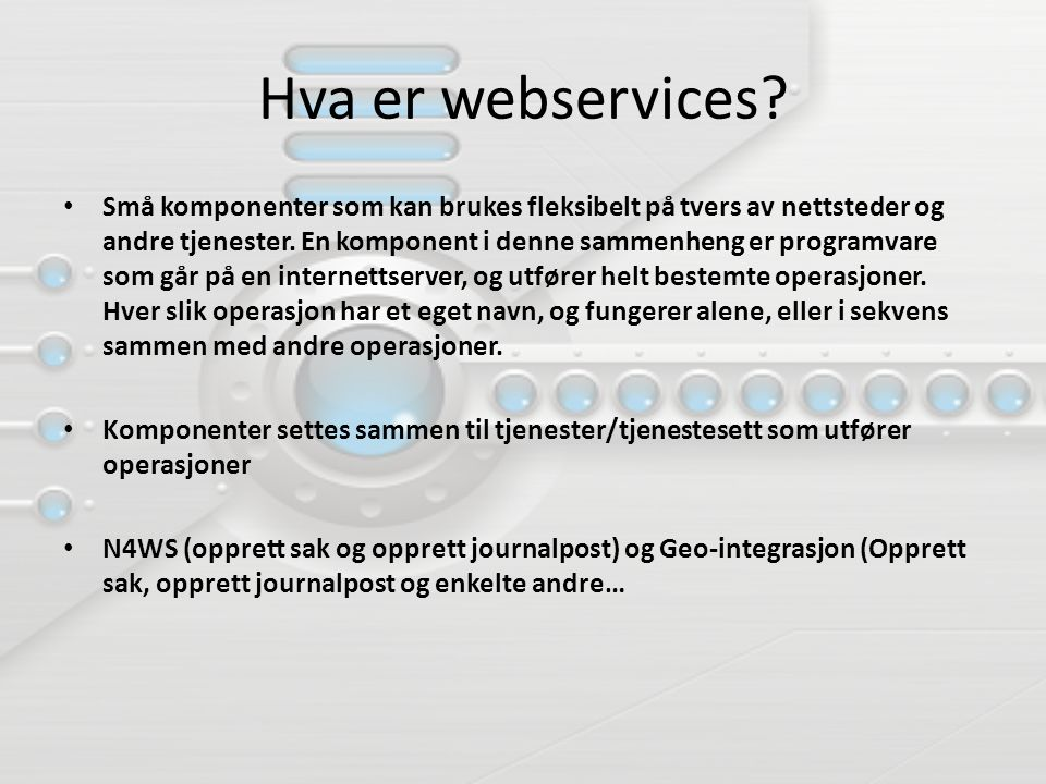 2. Behov for web-services: Mappenivå