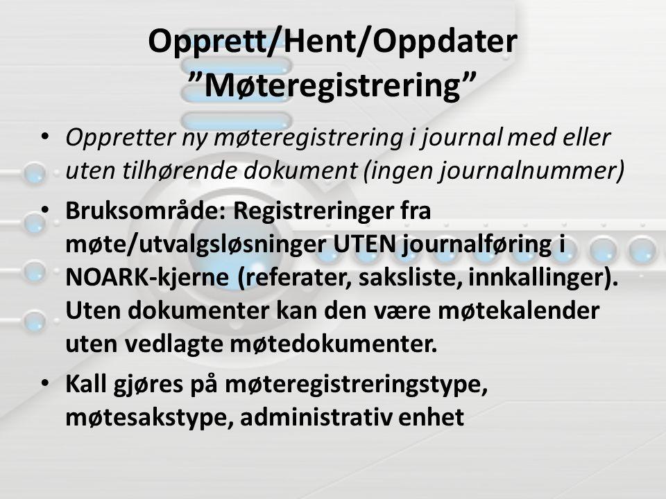 """Opprett/Hent/Oppdater """"Møteregistrering"""" Oppretter ny møteregistrering i journal med eller uten tilhørende dokument (ingen journalnummer) Bruksområde:"""