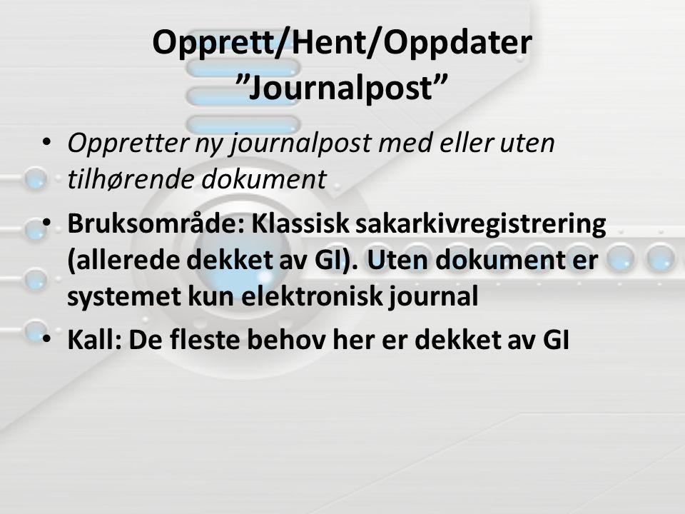 Opprett/Hent/Oppdater Journalpost Oppretter ny journalpost med eller uten tilhørende dokument Bruksområde: Klassisk sakarkivregistrering (allerede dekket av GI).