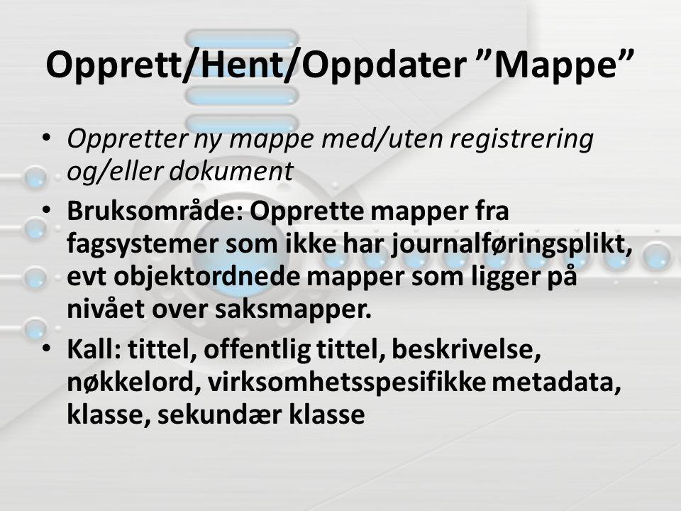 Opprett/Hent/Oppdater Mappe Oppretter ny mappe med/uten registrering og/eller dokument Bruksområde: Opprette mapper fra fagsystemer som ikke har journalføringsplikt, evt objektordnede mapper som ligger på nivået over saksmapper.